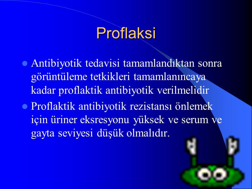 Proflaksi Antibiyotik tedavisi tamamlandıktan sonra görüntüleme tetkikleri tamamlanıncaya kadar proflaktik antibiyotik verilmelidir.