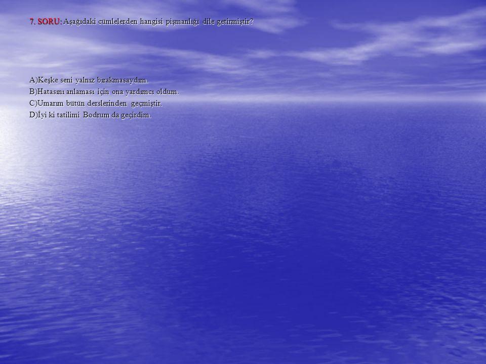 7. SORU: Aşağıdaki cümlelerden hangisi pişmanlığı dile getirmiştir