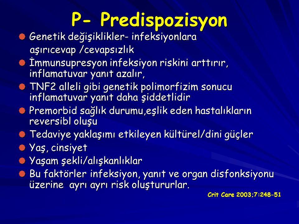 P- Predispozisyon Genetik değişiklikler- infeksiyonlara