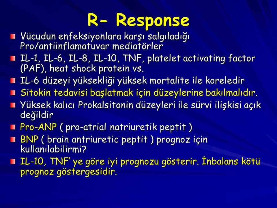 R- Response Vücudun enfeksiyonlara karşı salgıladığı Pro/antiinflamatuvar mediatörler.