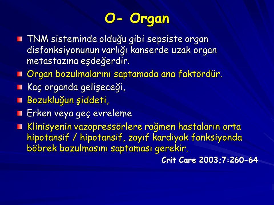 O- Organ TNM sisteminde olduğu gibi sepsiste organ disfonksiyonunun varlığı kanserde uzak organ metastazına eşdeğerdir.
