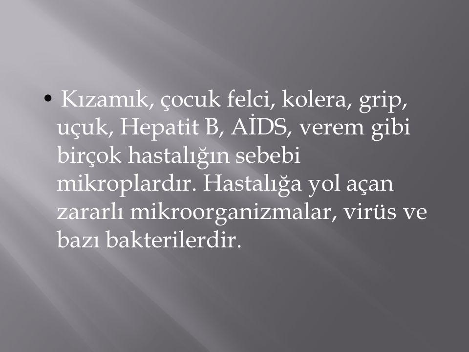 • Kızamık, çocuk felci, kolera, grip, uçuk, Hepatit B, AİDS, verem gibi birçok hastalığın sebebi mikroplardır.
