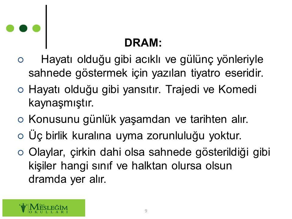DRAM: Hayatı olduğu gibi acıklı ve gülünç yönleriyle sahnede göstermek için yazılan tiyatro eseridir.