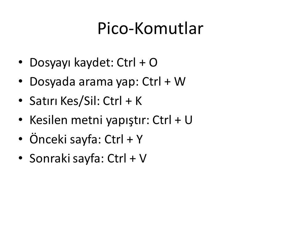 Pico-Komutlar Dosyayı kaydet: Ctrl + O Dosyada arama yap: Ctrl + W