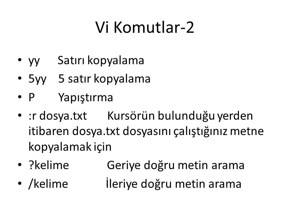 Vi Komutlar-2 yy Satırı kopyalama 5yy 5 satır kopyalama P Yapıştırma