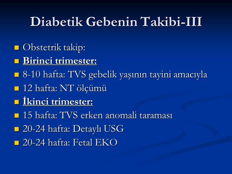 Diabetik Gebenin Takibi-III