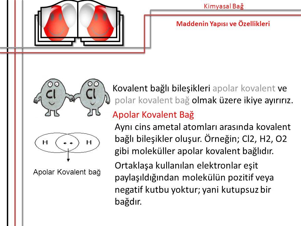 Kimyasal Bağ Maddenin Yapısı ve Özellikleri. Kovalent bağlı bileşikleri apolar kovalent ve polar kovalent bağ olmak üzere ikiye ayırırız.