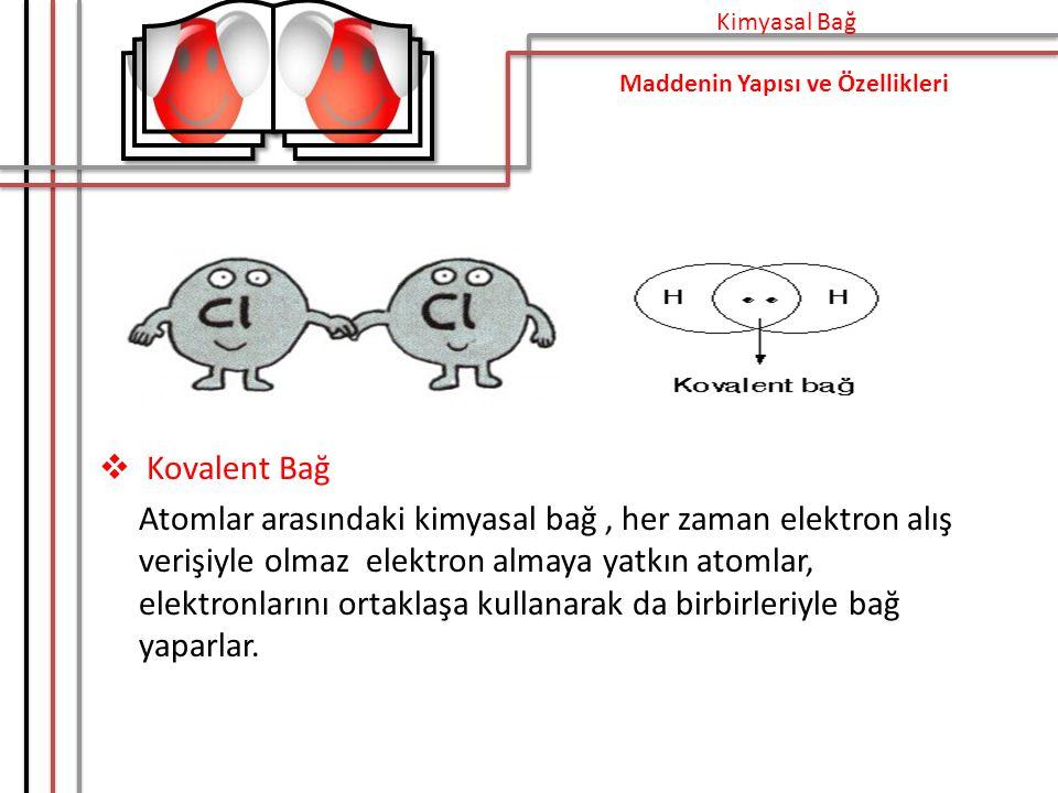 Kimyasal Bağ Maddenin Yapısı ve Özellikleri. Kovalent Bağ.