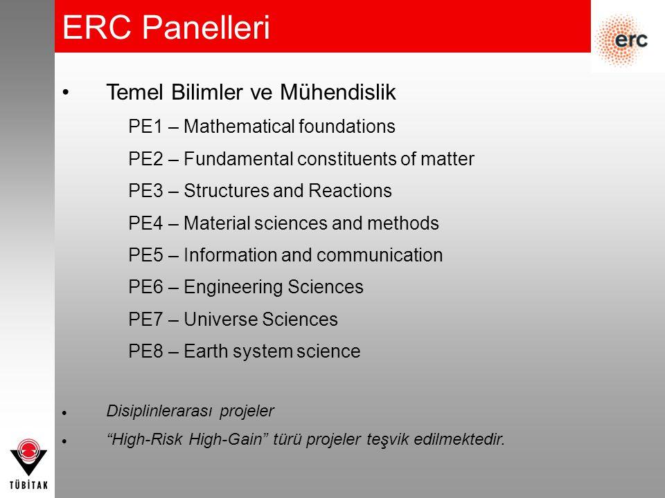 ERC Panelleri Temel Bilimler ve Mühendislik
