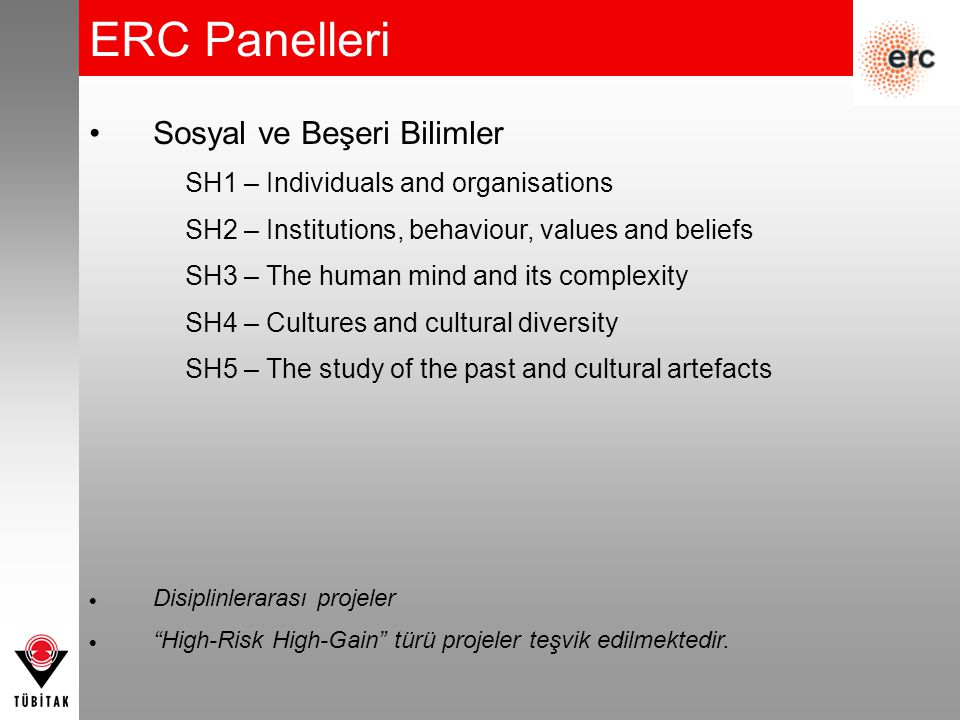 ERC Panelleri Sosyal ve Beşeri Bilimler