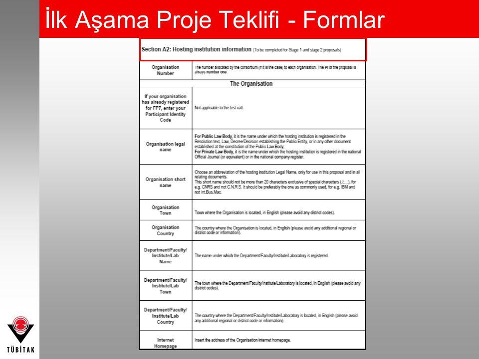 İlk Aşama Proje Teklifi - Formlar