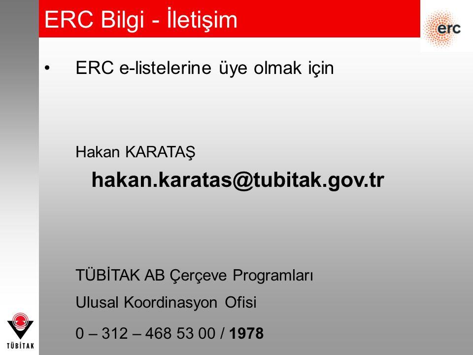 ERC Bilgi - İletişim ERC e-listelerine üye olmak için