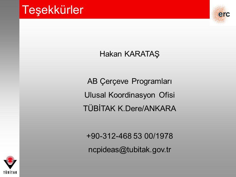 Teşekkürler Hakan KARATAŞ AB Çerçeve Programları