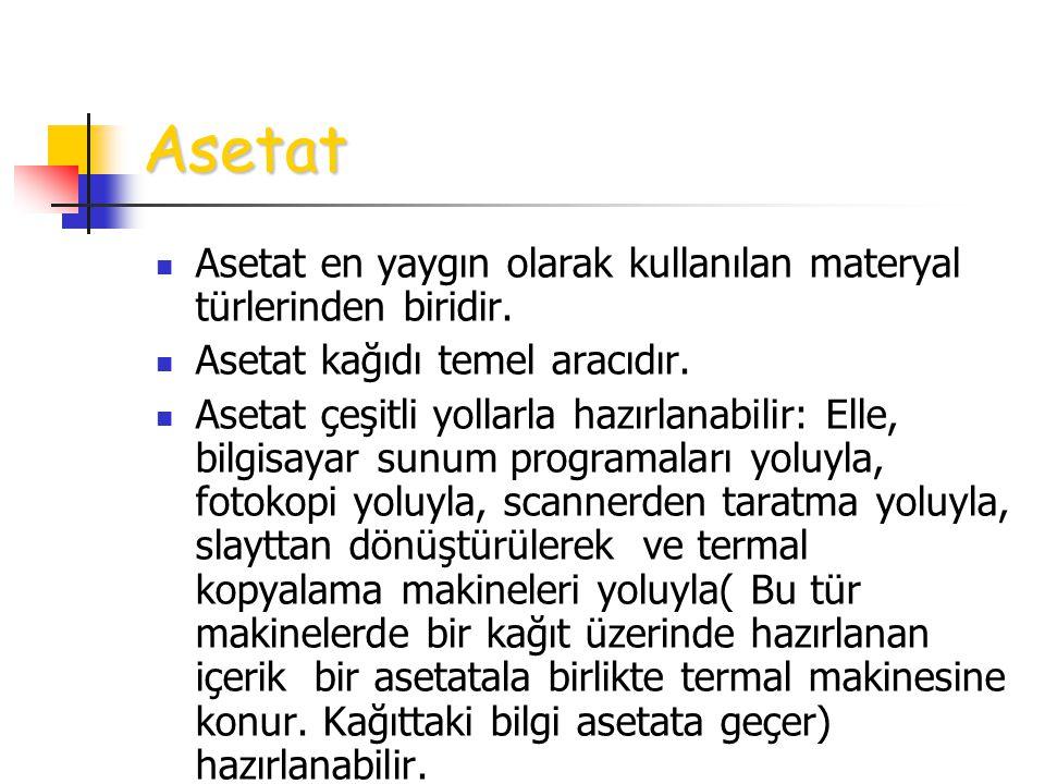 Asetat Asetat en yaygın olarak kullanılan materyal türlerinden biridir. Asetat kağıdı temel aracıdır.