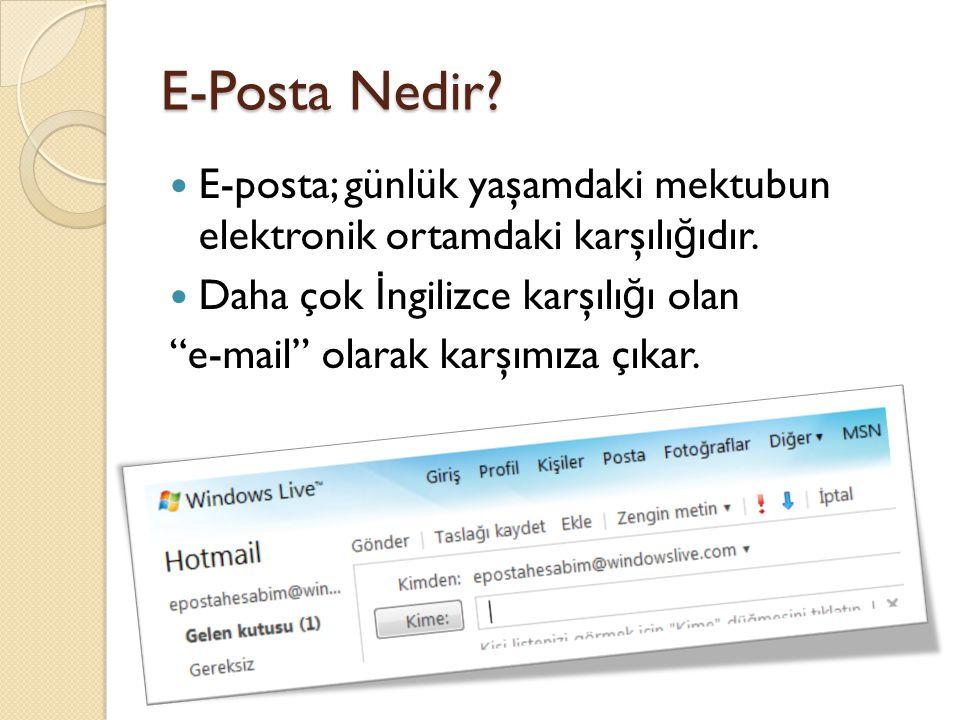 E-Posta Nedir E-posta; günlük yaşamdaki mektubun elektronik ortamdaki karşılığıdır. Daha çok İngilizce karşılığı olan.