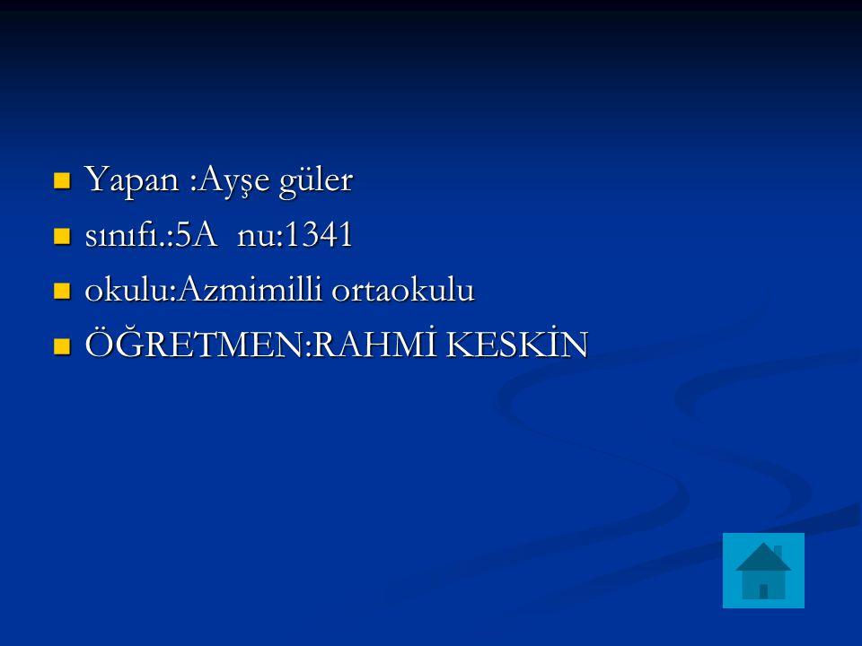 Yapan :Ayşe güler sınıfı.:5A nu:1341 okulu:Azmimilli ortaokulu ÖĞRETMEN:RAHMİ KESKİN