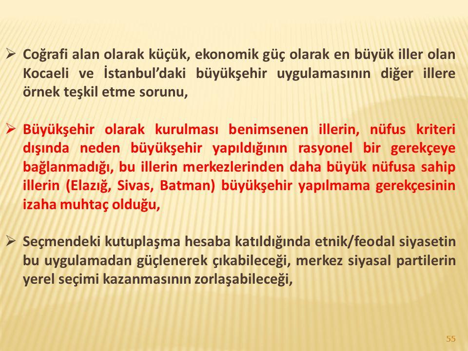 Coğrafi alan olarak küçük, ekonomik güç olarak en büyük iller olan Kocaeli ve İstanbul'daki büyükşehir uygulamasının diğer illere örnek teşkil etme sorunu,