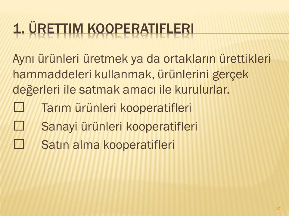 1. Ürettim kooperatifleri