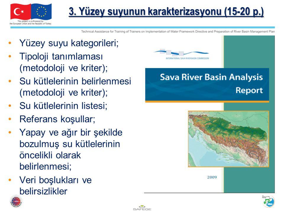 3. Yüzey suyunun karakterizasyonu (15-20 p.)