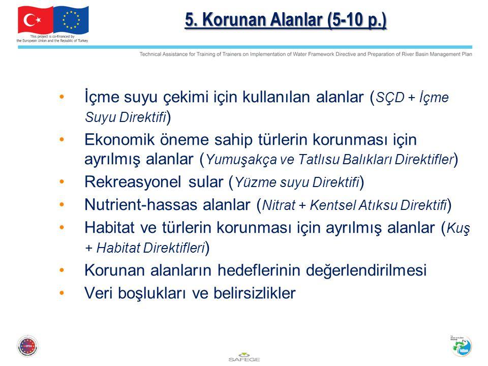 5. Korunan Alanlar (5-10 p.) İçme suyu çekimi için kullanılan alanlar (SÇD + İçme Suyu Direktifi)