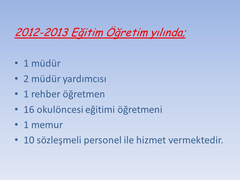 2012-2013 Eğitim Öğretim yılında;