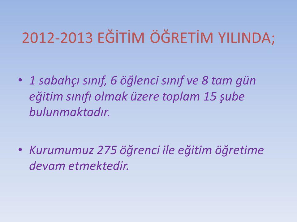 2012-2013 EĞİTİM ÖĞRETİM YILINDA;