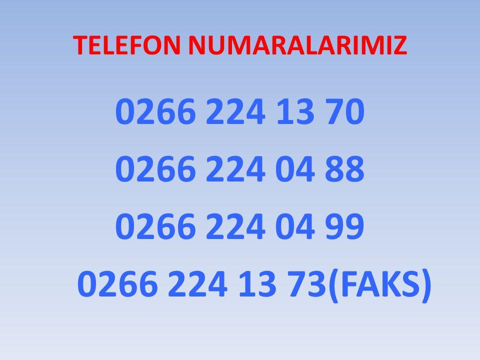 TELEFON NUMARALARIMIZ