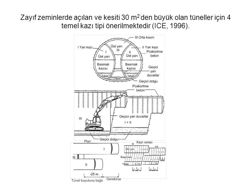 Zayıf zeminlerde açılan ve kesiti 30 m2'den büyük olan tüneller için 4 temel kazı tipi önerilmektedir (ICE, 1996).