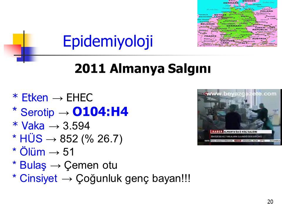 Epidemiyoloji 2011 Almanya Salgını * Serotip → O104:H4 * Etken → EHEC