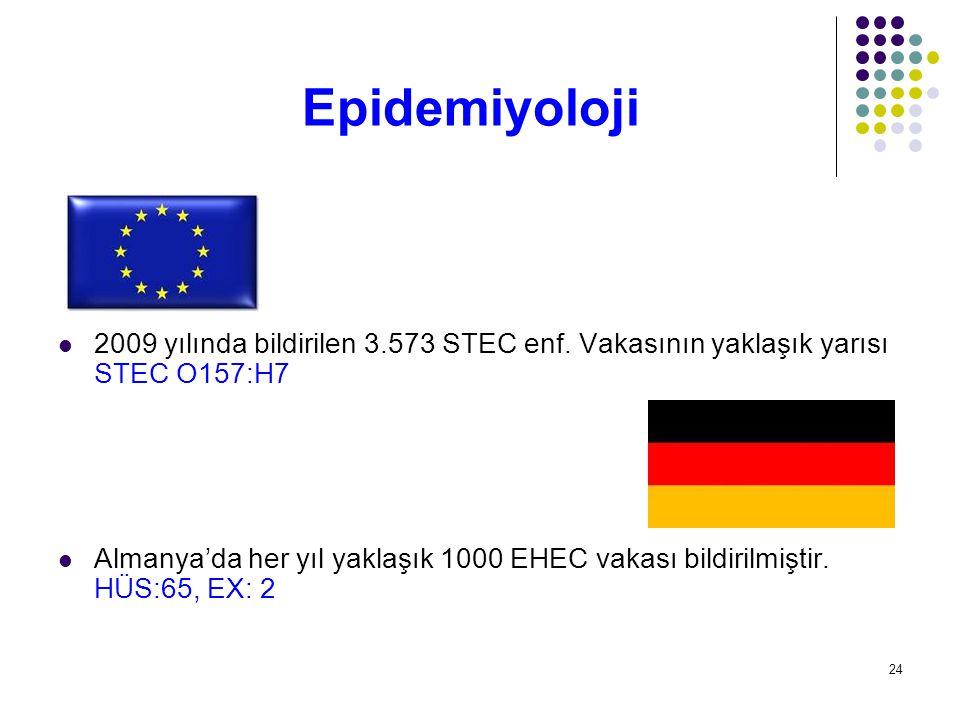 Epidemiyoloji 2009 yılında bildirilen 3.573 STEC enf. Vakasının yaklaşık yarısı STEC O157:H7.