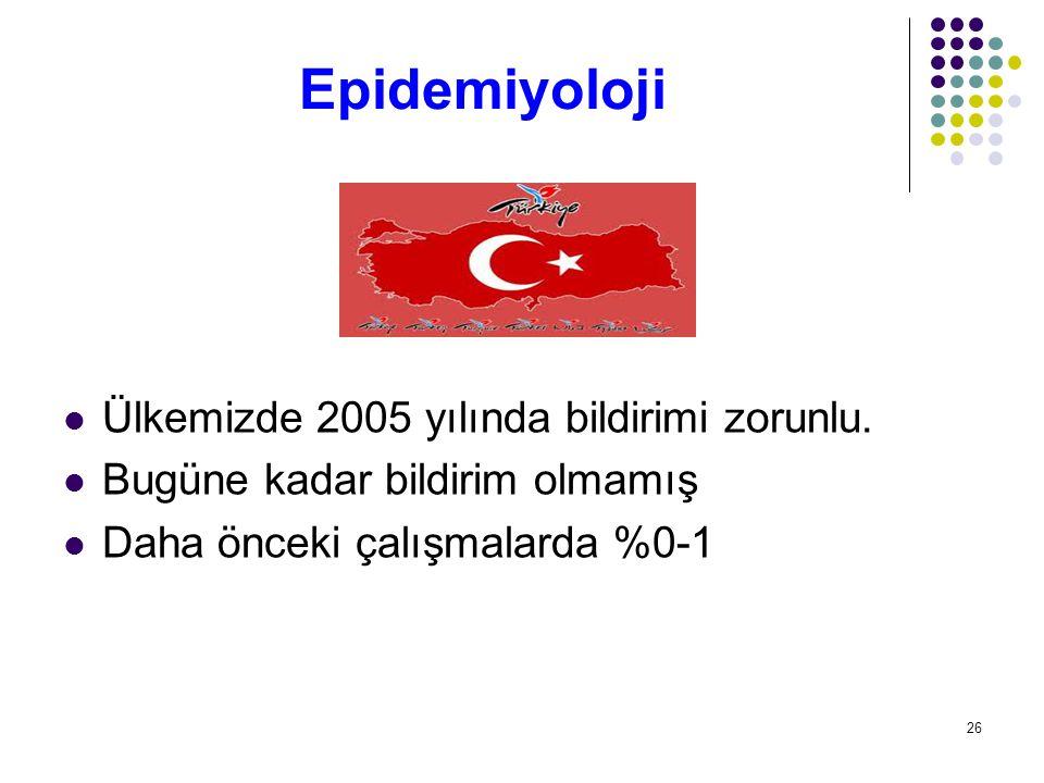 Epidemiyoloji Ülkemizde 2005 yılında bildirimi zorunlu.
