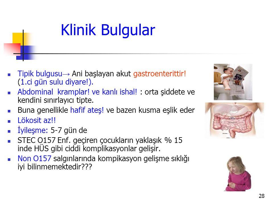 Klinik Bulgular Tipik bulgusu→ Ani başlayan akut gastroenterittir! (1.ci gün sulu diyare!).