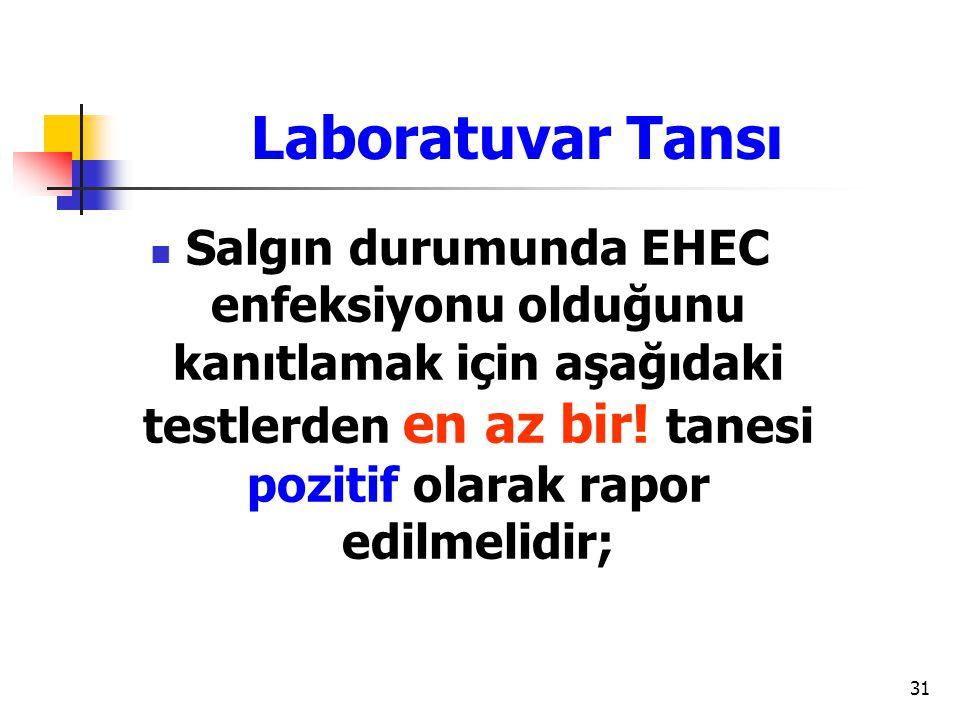 Laboratuvar Tansı Salgın durumunda EHEC enfeksiyonu olduğunu kanıtlamak için aşağıdaki testlerden en az bir.