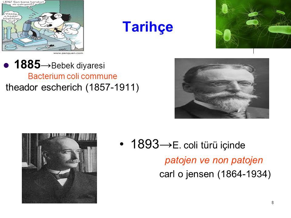 Tarihçe 1893→E. coli türü içinde 1885→Bebek diyaresi