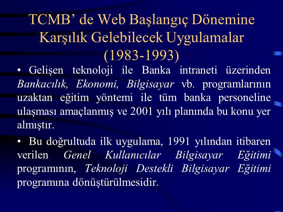 TCMB' de Web Başlangıç Dönemine Karşılık Gelebilecek Uygulamalar (1983-1993)