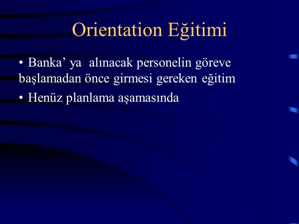 Orientation Eğitimi Banka' ya alınacak personelin göreve başlamadan önce girmesi gereken eğitim.