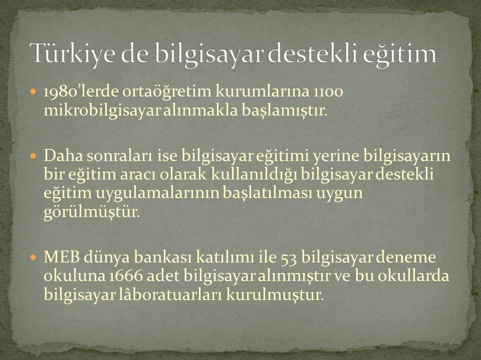 Türkiye de bilgisayar destekli eğitim