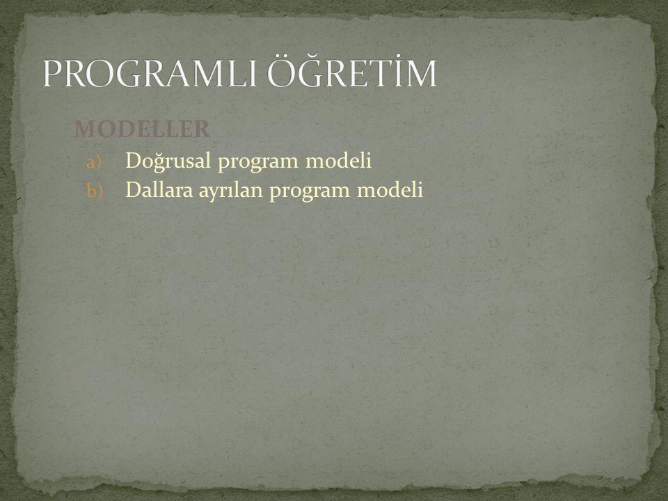 PROGRAMLI ÖĞRETİM MODELLER Doğrusal program modeli