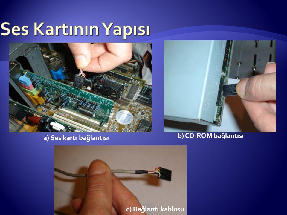 Ses Kartının Yapısı b) CD-ROM bağlantısı a) Ses kartı bağlantısı