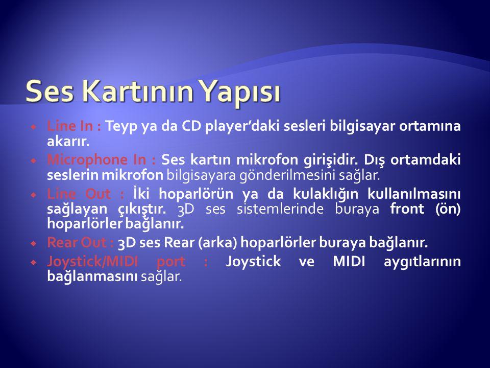 Ses Kartının Yapısı Line In : Teyp ya da CD player'daki sesleri bilgisayar ortamına akarır.