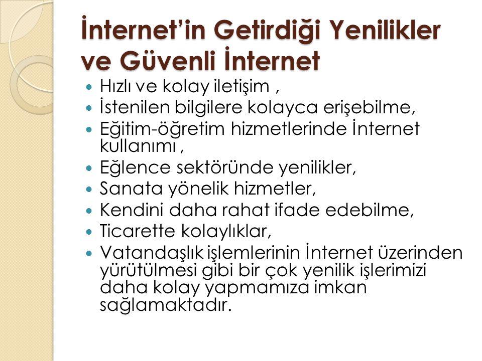 İnternet'in Getirdiği Yenilikler ve Güvenli İnternet