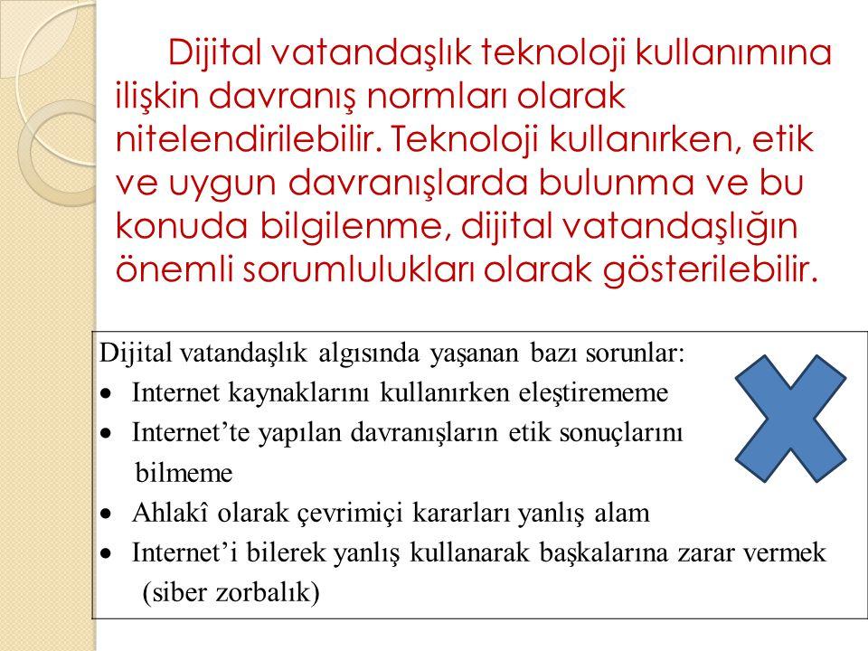 Dijital vatandaşlık teknoloji kullanımına ilişkin davranış normları olarak nitelendirilebilir. Teknoloji kullanırken, etik ve uygun davranışlarda bulunma ve bu konuda bilgilenme, dijital vatandaşlığın önemli sorumlulukları olarak gösterilebilir.