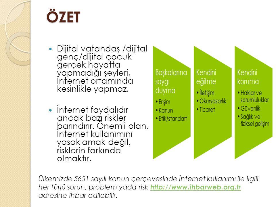 ÖZET Dijital vatandaş /dijital genç/dijital çocuk gerçek hayatta yapmadığı şeyleri, İnternet ortamında kesinlikle yapmaz.