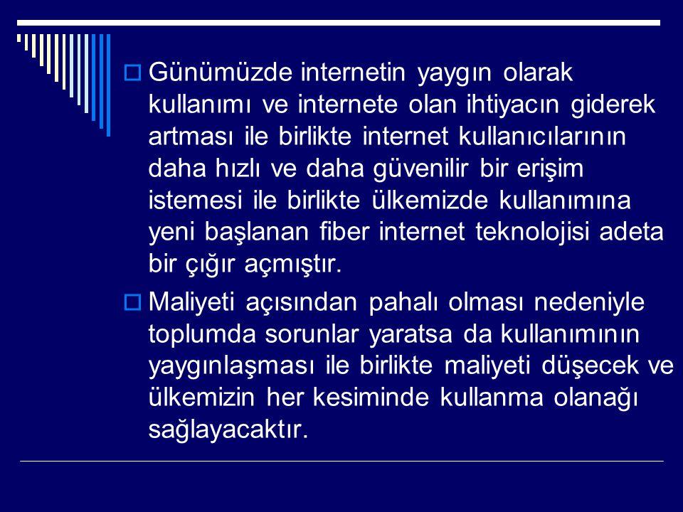 Günümüzde internetin yaygın olarak kullanımı ve internete olan ihtiyacın giderek artması ile birlikte internet kullanıcılarının daha hızlı ve daha güvenilir bir erişim istemesi ile birlikte ülkemizde kullanımına yeni başlanan fiber internet teknolojisi adeta bir çığır açmıştır.
