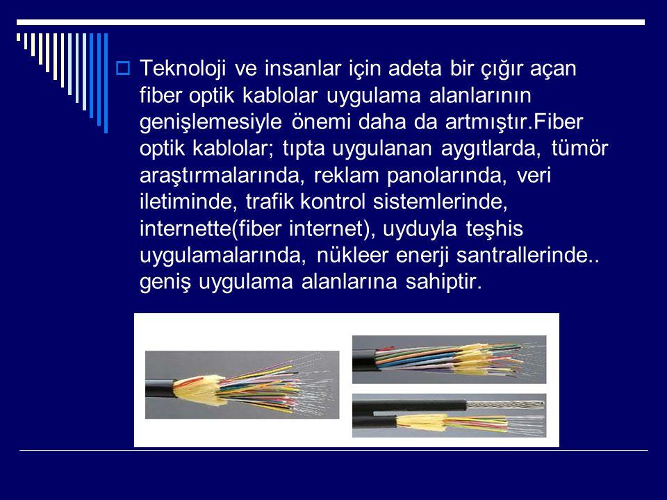 Teknoloji ve insanlar için adeta bir çığır açan fiber optik kablolar uygulama alanlarının genişlemesiyle önemi daha da artmıştır.Fiber optik kablolar; tıpta uygulanan aygıtlarda, tümör araştırmalarında, reklam panolarında, veri iletiminde, trafik kontrol sistemlerinde, internette(fiber internet), uyduyla teşhis uygulamalarında, nükleer enerji santrallerinde..
