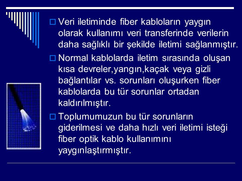 Veri iletiminde fiber kabloların yaygın olarak kullanımı veri transferinde verilerin daha sağlıklı bir şekilde iletimi sağlanmıştır.
