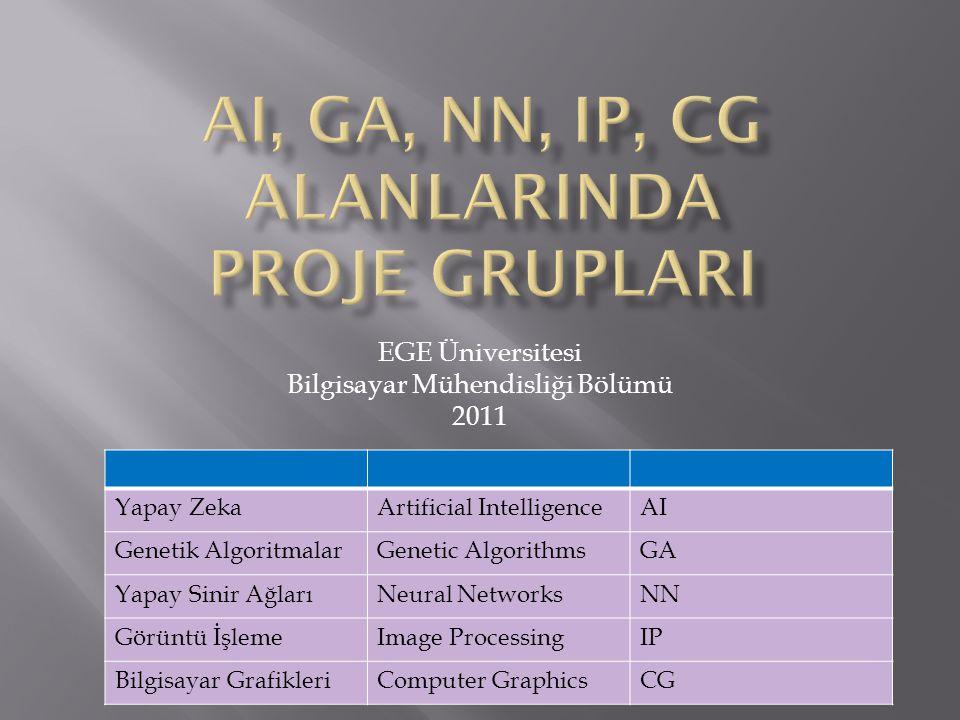 AI, GA, NN, IP, CG alanlarInda Proje GruplarI