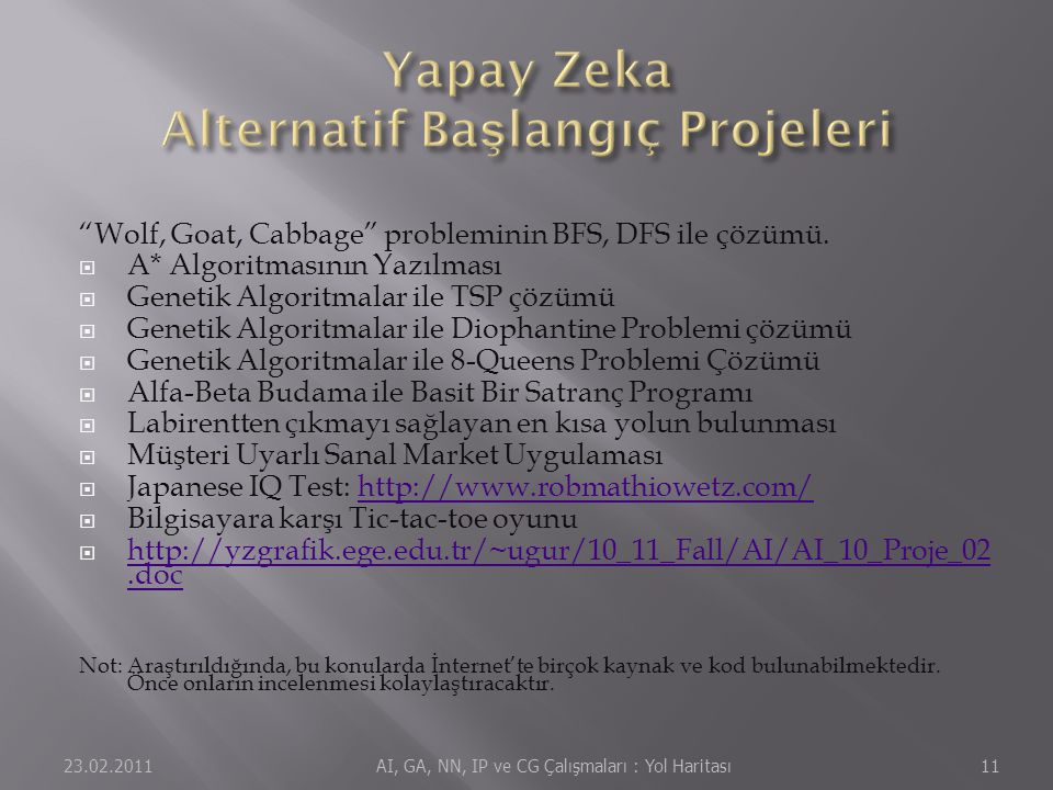 Yapay Zeka Alternatif Başlangıç Projeleri