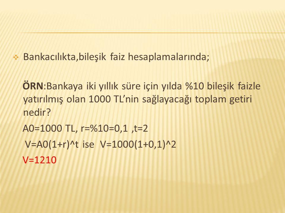Bankacılıkta,bileşik faiz hesaplamalarında;