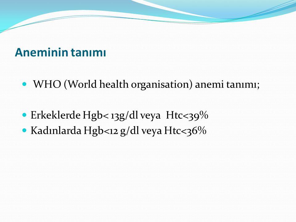 Aneminin tanımı WHO (World health organisation) anemi tanımı;